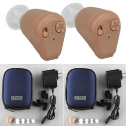Pair Rechargeable Hearing Aids Mini Invisible Enhancer Sound