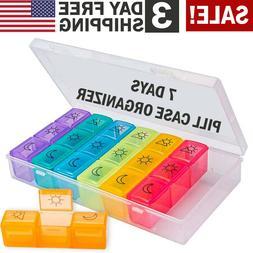 Pill Box Case Organizer Dispenser Weekly Pills Planner AM/PM