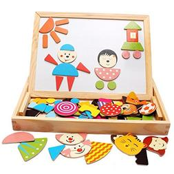 Wooden Board Puzzles 90 Pieces Magnetic Puzzle Sketchpad Jig