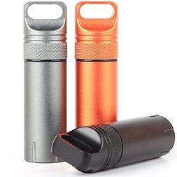 Eclimb 3pcs Portable Waterproof Aluminum Pill Box Bottle Sto
