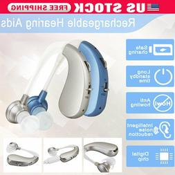 Rechargeable Digital Hearing Aids Assistance Severe Loss BTE