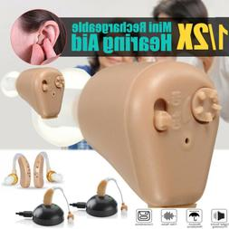 1 / 2Pack Rechargeable Digital Mini In Ear Hearing Aid Adjus