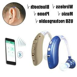 Wireless Bluetooth Hearing Aid Invisible BTE USB Rechargeabl
